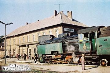 Skwierzyna w dniu 03.10.1987. Tkt48-28 od pociągu specjalnego Zbąszynek - Międzyrzecz - Międzychód - Skwierzyna - Wierzbno - Międzyrzecz - Zbąszynek, przed obrotem lokomotywy.