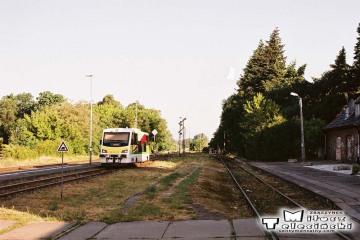 Skwierzyna w dniu 16.06.2008. oddalający się poranny pociąg do Gorzowa Wlkp.