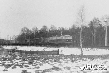 Torzym, pociąg ze Zbąszynka 22.03.1987.