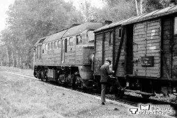 Przewóz 22.08.1986. ST44-485 z towarowym Sanice - Żagań.