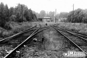 Przewóz 22.08.1986. W oddali lokomotywownia. W prawo tor do Sanic {Horka), w lewo do Potoku.