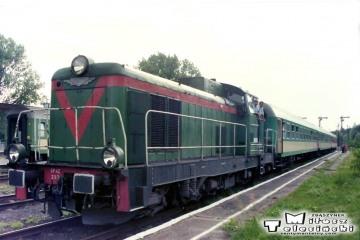 """Gubin 27.12.1998. SP42 237 z pociągiem pośpiesznym """"Malta"""" do Poznania."""