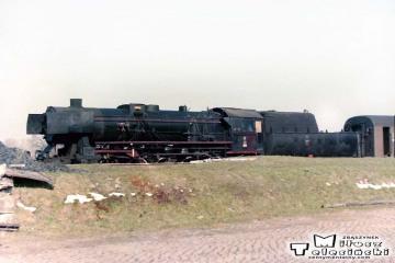 Trakiszki 05.04.1989. Ty2-1252 ze składem gotowy do Suwałk.