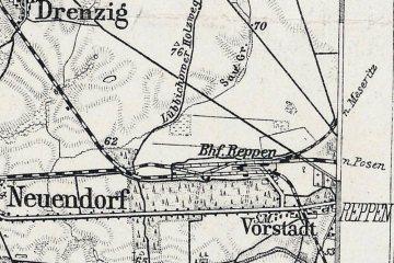 """1905 """"Przejście"""" kolei Kostrzyn - Zielona Góra przez stację Rzepin."""