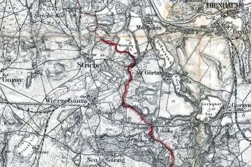 1930 Wyraźnie widoczny pas graniczny z 1920 roku, rozdzielający Polskę i Niemcy. Kolej pomiędzy Wierzbnem a Międzychodem rozebrana.