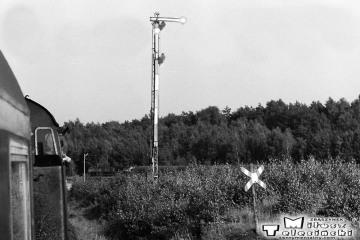 Wierzbno 03.10.1987 od strony Skwierzyny. Wjazd pociągu specjalnego Zbąszynek - Międzyrzecz - Wierzbno - Międzychód - Wierzbno - Skwierzyna - Wierzbno - Międzyrzecz - Zbąszynek.
