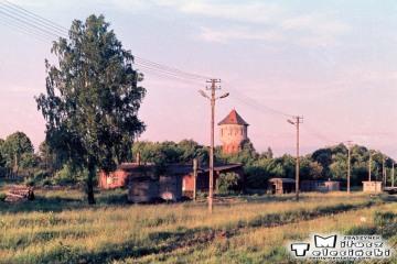 Gołdap 19.06.1988 Widok w stronę zburzonej lokomotywowni.