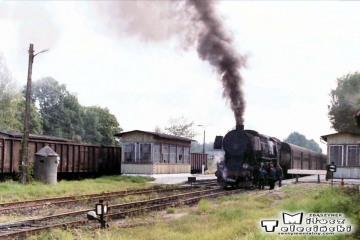 Ty2-239 w Węgorzewie objeżdża skład do Kętrzyna w dniu 11.09.1990.
