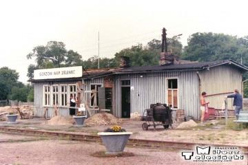 Gorzów Zieleniec 10.07.1989. Rozbiórka starego (niemieckiego) budynku.