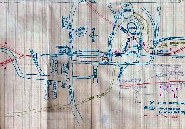 Plan sporządzony przez kolejarza z Gołdapi podczas pierwszego spotkania w czerwcu 1987 roku.