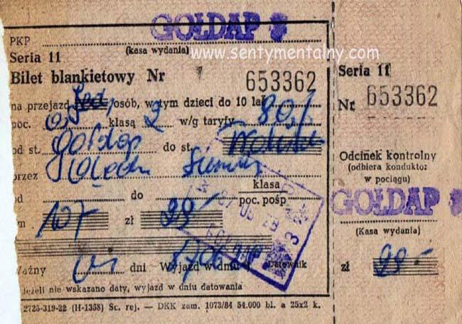 Wyżej mamy bilet Gołdap – Trakiszki z dnia 27 czerwca 1987 roku