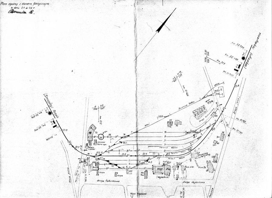Plan stacji Sulęcin z 1947 r.