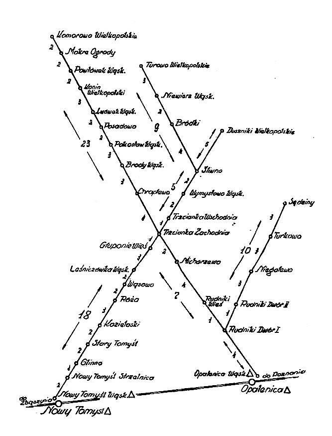 mapkę z Wykazu Odległości Kolejowych z 1959 roku.