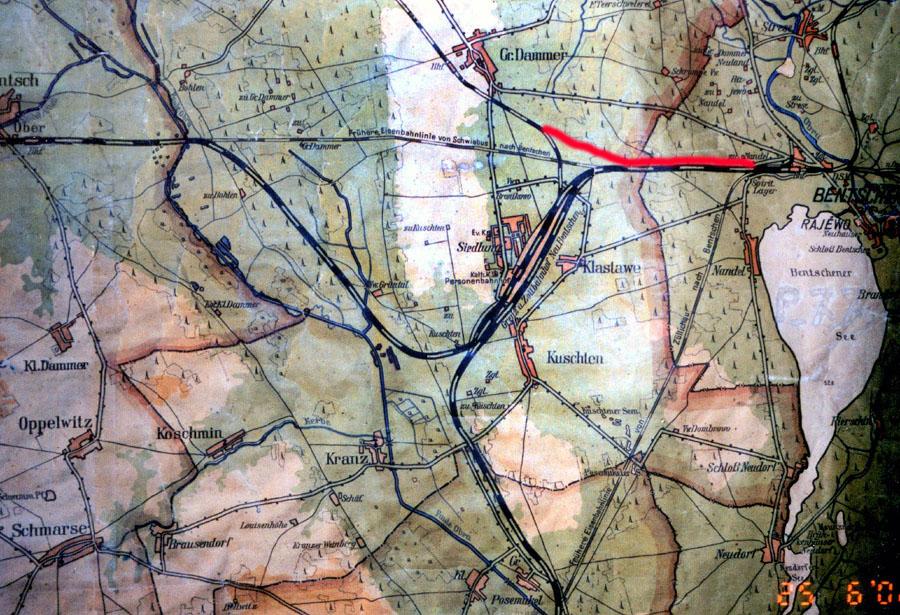 Mapka z 1930 roku, Zbąszyń – Dąbrówka – 7.2 kilometra, Kosieczyn – Dąbrówka – 3.2 kilometra