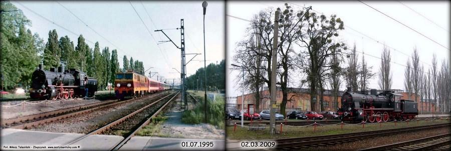 """Po lewej stronie EC """"Berolina"""" z EP09-023 mija Zbąszynek w dniu 01.07.1995. Po prawej fotka z dnia 02.03.2009."""