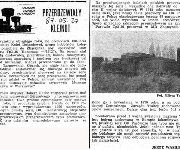 """artykuł z dnia 27.05.1987, który ukazał się w czasopiśmie """"Sygnały"""", w pierwszych etapach ratowania zabytku."""