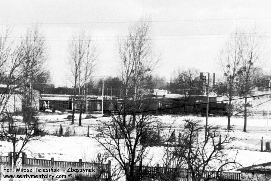 Niżej zdjęcie w oddali parowozu, ciągnącego wagony z koszykami wzdłuż ulicy Czarna Droga w kierunku dworca kolejowego do dalszej podróży.
