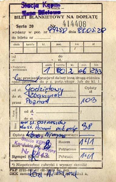 Bilet z ostatniego pociągu pasażerskiego w dniu 28.05.1988 roku.