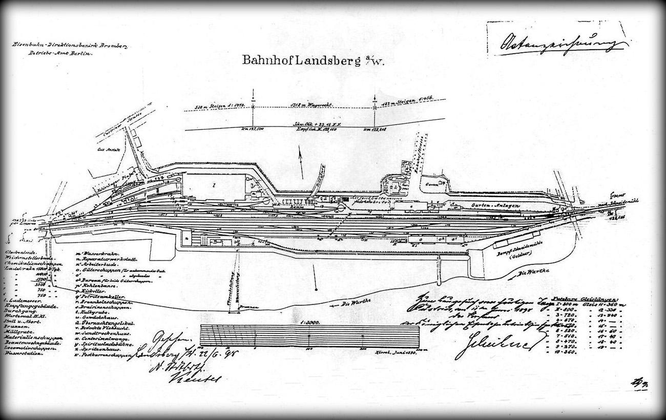 Plan stacji Gorzów Wlkp. z 1898 roku.