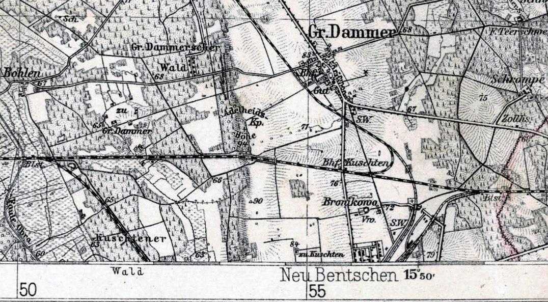 Fragment mapy z lat 1929 – 30, gdzie wyraźnie jest oznaczony przejściowy przystanek KOSIECZYN