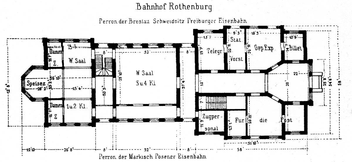 Plan dworca w Czerwieńsku z lat 1970 – 71. Projekt opracowany w 1866.
