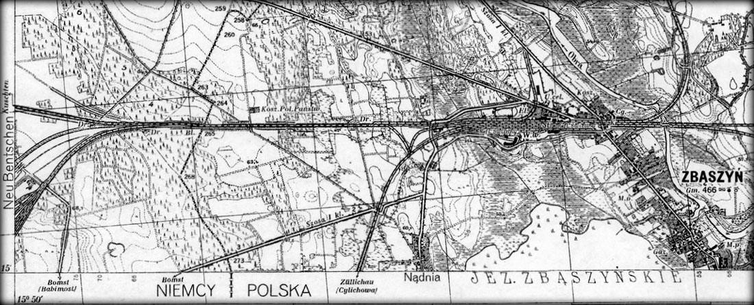 Po prawej mapka z 1930 roku. Wtedy tor w kierunku Międzyrzecza miał swój początek już od wybudowanego Zbąszynka (Neu Bentschen), a w kierunku Frankfurtu ruch odbywał się jeszcze pierwotnym połączeniem. Jednak widać budowany dworzec towarowy w Zbąszynku.