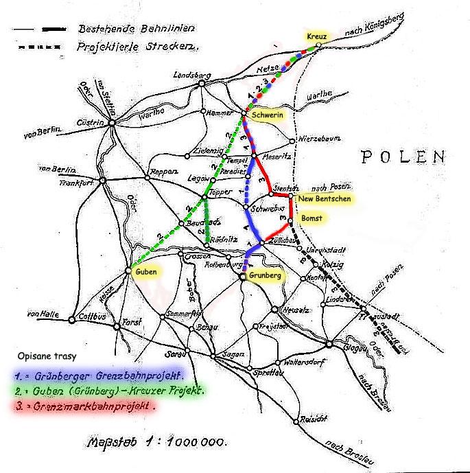 Odcinki mapy, które miały stanowić fragmenty powstającej kolei Brzeg – Namysłów – Góra Śląska.