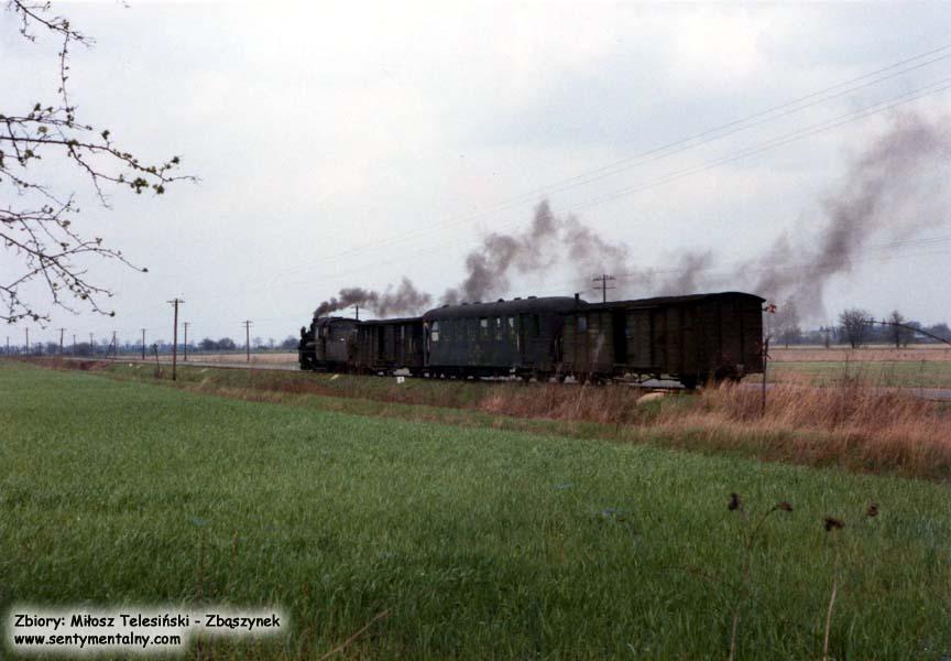 Trzcianka Zachodnia - Nowy Tomyśl, pociąg relacji Opalenica - Nowy Tomyśl w 1986.