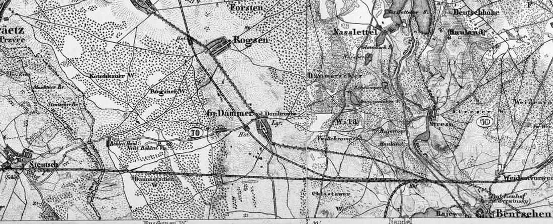 Rok 1893. Główny szlak jeszcze jednotorowy (do 1898 roku), tor do Międzyrzecza starym połączeniem (1885 - 1920). Ze Zbąszynia, nie ma jeszcze toru do międzychodu (1906).