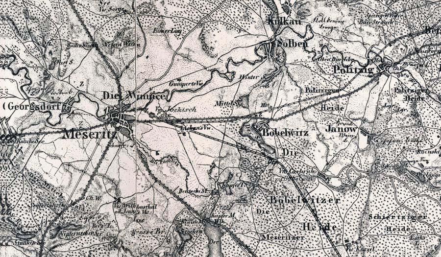 Mapka z1893 roku. Tor z Międzyrzecza do Zbąszynia, wybudowany w 1885 roku.