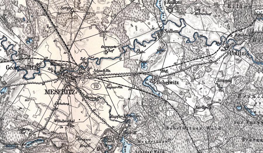 Mapka z1899 roku. Tor z Międzyrzecza do Zbąszynia, wybudowany w 1885 roku.