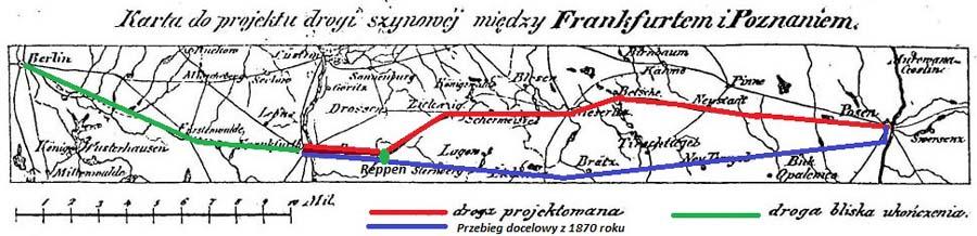 Powyższa mapka przedstawia plan budowy kolei z 1842 roku. Czerwono zaznaczona droga planowana w 1842 roku, na niebiesko przebieg ostateczny . Pomiędzy Frankfurtem a Rzepinem, trasa przebiegu się nie zmieniła, natomiast dalej, próbowano wykorzystać przebieg ostatecznie zagospodarowany przez linię Rzepin – Sulęcin – Międzyrzecz – Wierzbno.