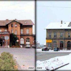 Widok dworca w Międzyrzeczu w dniu 19.09.2002 i 21.09.2009.