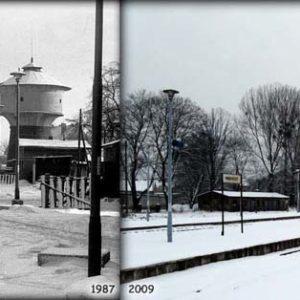 Widok peronów w Międzyrzeczu w lutym 1987 i 21.02.2009.