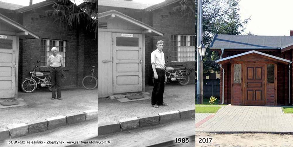 """Lwówek Wlkp. w sierpniu 1985 i 01.10.2017 roku. Na zdjęciach od lewej Pan Loba, wtedy emerytowany, """"dochodzący"""" zawiadowca i aktualny wtedy Pan Górny."""
