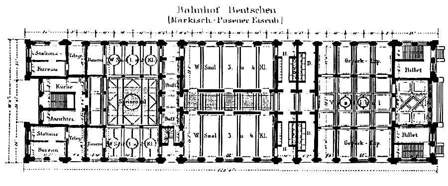 Plan budynku dworcowego 1873