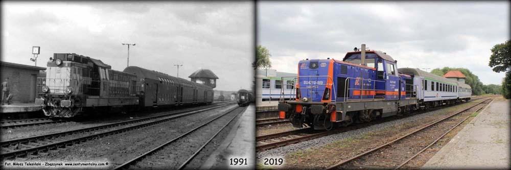 Peron 3 i 4 w 1991 i 2019 roku.