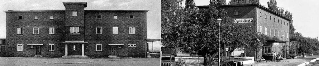 Wyżej zdjęcia dworca przed 1945 rokiem oraz w 1986.