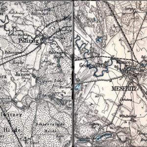 Po lewej mapka z 1893 roku, gdy do Międzyrzecza docierały pociągi tylko z dwóch kierunków. Po prawej mapka z 1899 roku.