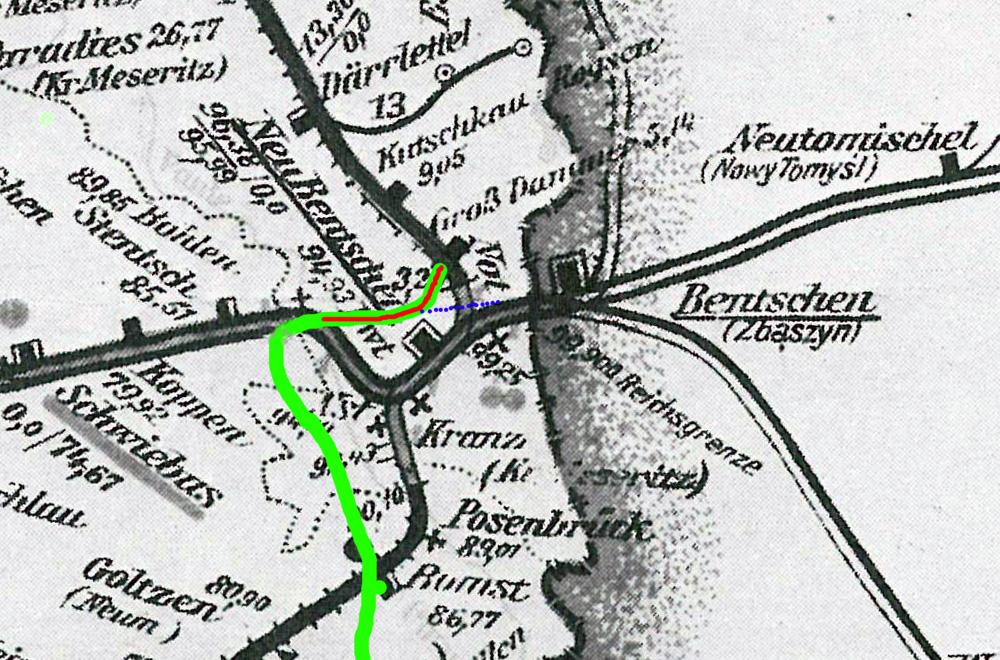 Okazuje się że według projektu aktualnego jeszcze w grudniu 1930 roku, fragment strategicznej kolei miał przebiegać na miejscu dawnego toru Berlińskiego, tuż po jego zamknięciu dla ruchu Frakkfurt – Poznań.