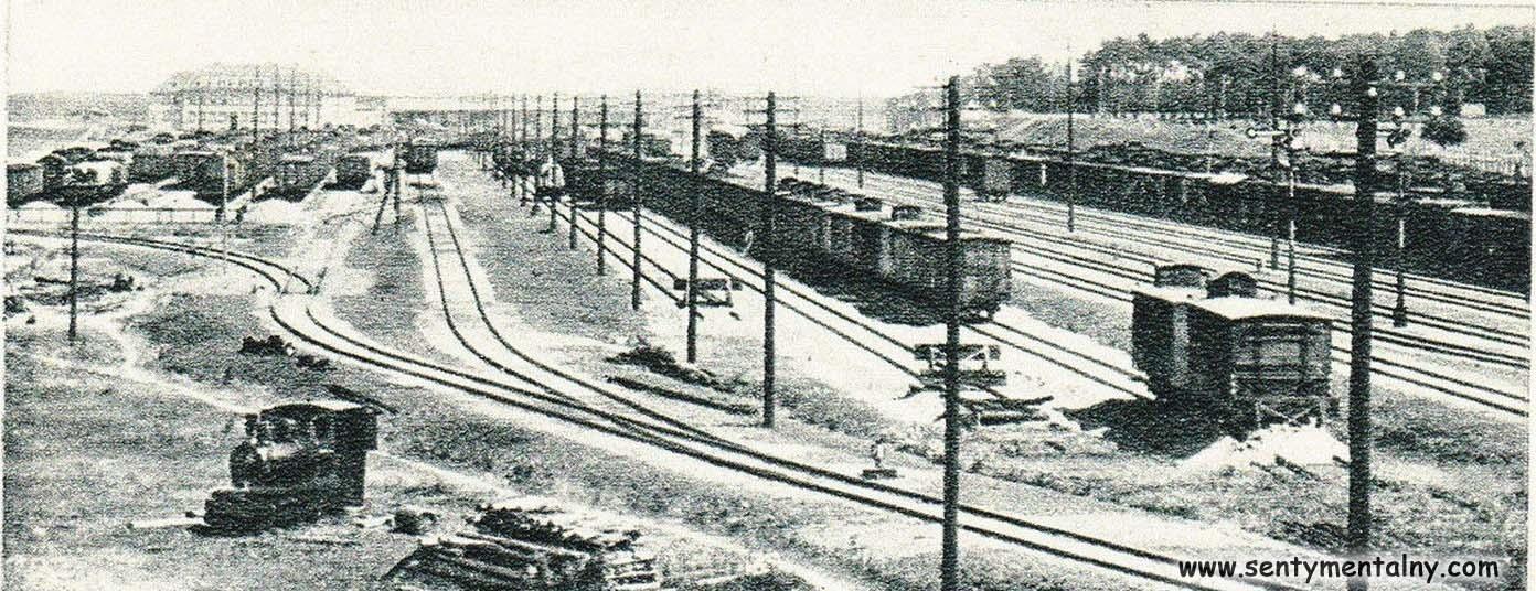 Dworzec towarowy w Zbąszynku (Neu Bentschen) w latach 1925 – 30, jeszcze podczas budowy. Część torów jednostronnie zakończona, czeka na przedłużenie.