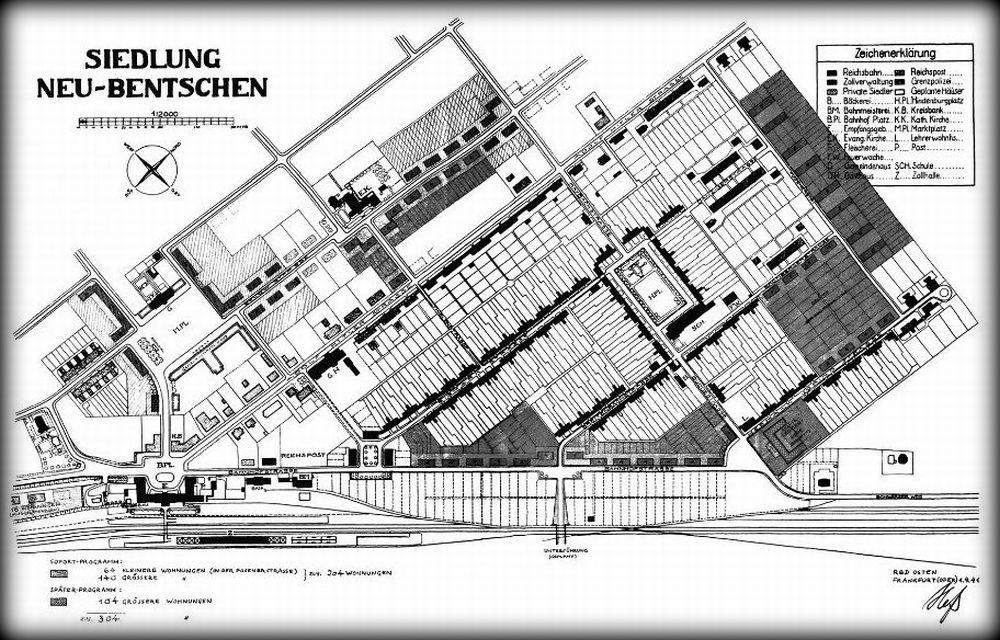 Plan Zbąszynka (Neu Bentschen) z 1941 roku. Zauważalne dobudowane obiekty, jak i te, z realizacją których się wycofano.