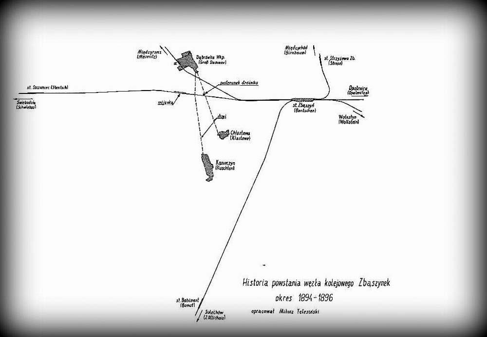 Sytuacja z lat 1870 - 1898, do chwili wybudowania drugiego toru. Widoczna mijanka, potrzebna do 1898. Zbąszynek (Neu Bentschen) nie był jeszcze planowany.