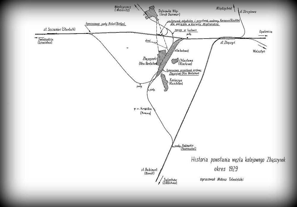 Sytuacja z lat 1920 - 1930. Połączenie do Międzyrzecza tymczasowe, Nasyp Zbąszynek - punkt styczny z tymczasowym nasypem w budowie.