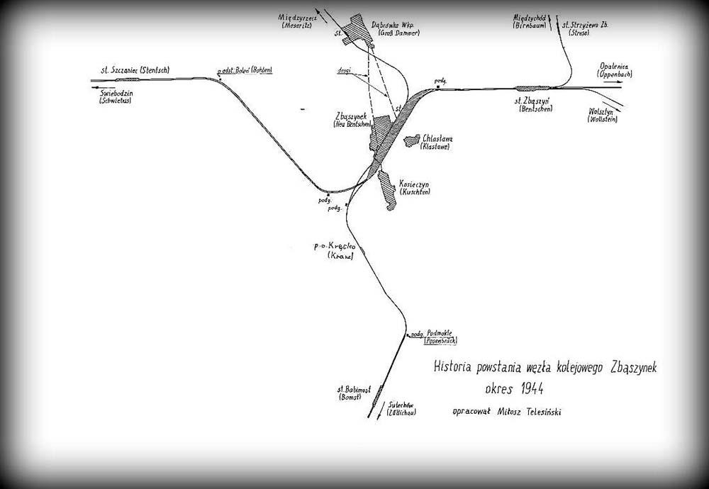 1930 - do dziś. Do Międzyrzecza oddany nowy łukowy tor o długości 3200 m. Zastępujący poprzednie rozwiązania. Otwarcie dworca osobowego i wyłączenie z użytku starych torów.