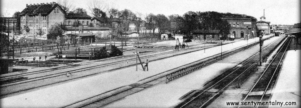 Widok ogólny peronu Międzyrzeckiego krótko przed 1909 rokiem.