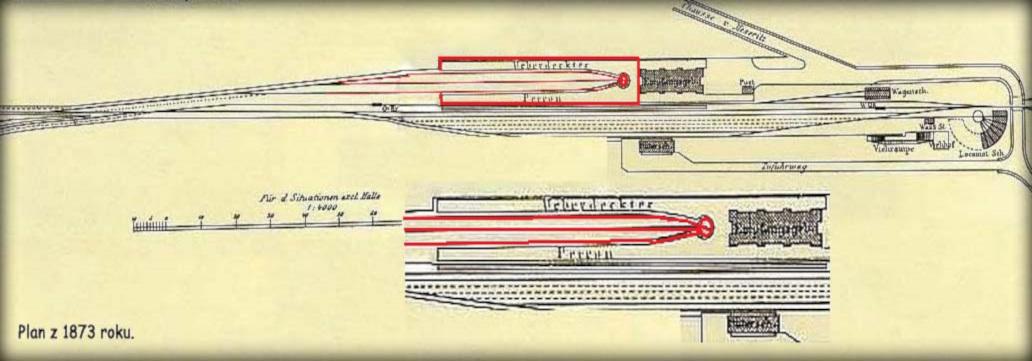 Peron Międzyrzecki z oddzielną wiatą peronową, zakończony obrotnicą, który posiadała stacja Zbąszyń. Plan z 1873 roku, gdy kolej Poznań Guben i do Frankfurtu miała dopiero trzy lata.