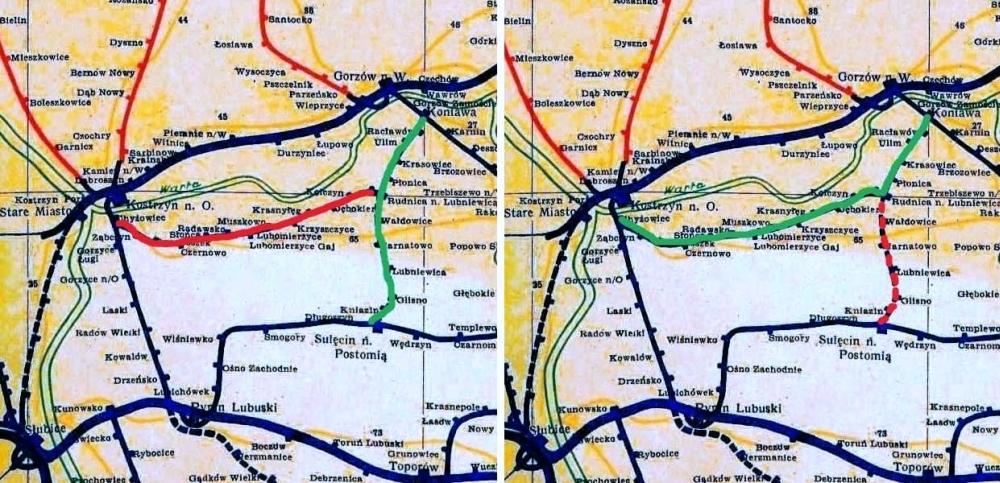 Wyżej mamy rolę stacji Rudnica do i od 1945 roku. W latach 1912 – 1945 połączenie Gorzów Zieleniec – Rudnica (po lewej na zielono), stanowiło oddzielną, państwową kolej od doprowadzonego w 1915 roku odcinka Chyrzyno (Kostrzyn) – Krzeszyce – Słońsk – Rudnica (po lewej na czerwono). Były dwie niezależne ładownie. Po 1945 roku utworzono bezpośrednie połączenie Zieleniec – Chyrzyno – Kostrzyn/O (po prawej na zielono), łącząc fragment kolei powstałej w 1912 roku z tą dołączoną prywatną w 1915 roku. odcinek Rudnica – Kniazin – Sulęcin (wybudowany w 1912 roku), został zapomniany (na czerwono po prawej).