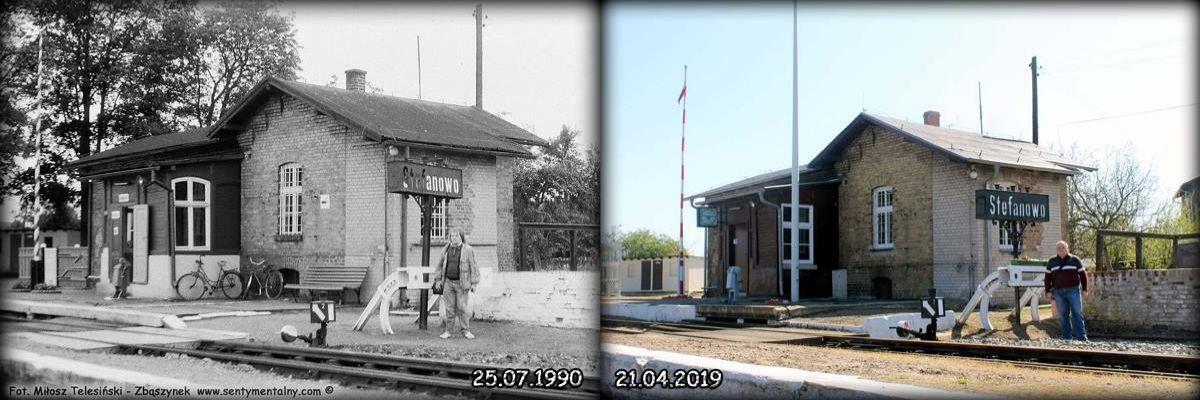 Wyżej widok dworca w Stefanowie w dniu 25.07.1990 i 21.04.2019 roku.