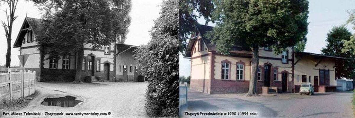 Wyżej widok dworca Zbąszyń Przedmieście w dniu 25.07.1990 i 05.07.1994 roku.
